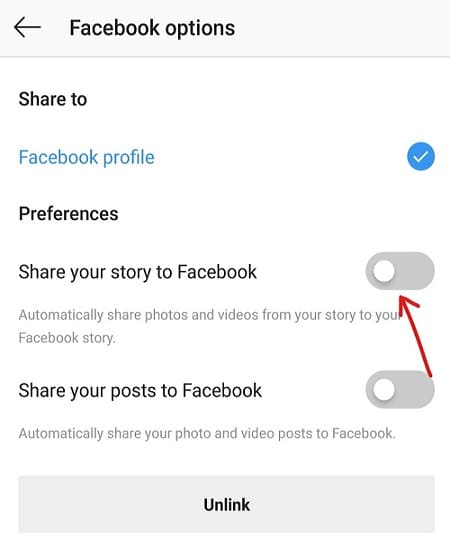 Change settings for Share your story to Facebook and Share your posts to Facebook