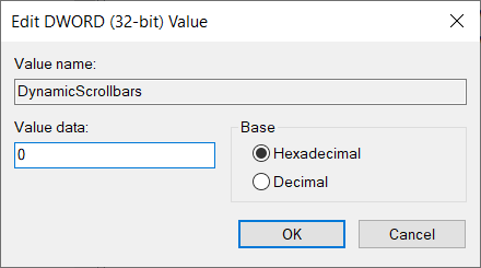 Change the value to 0 in order to disable the hiding scrollbars