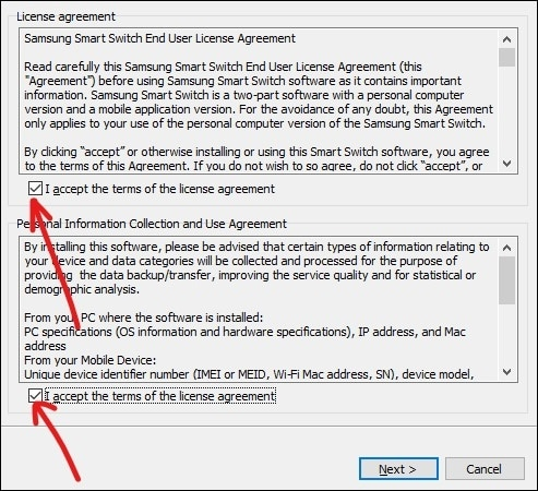 Check both the checkboxes next to I accept the terms of the license agreement