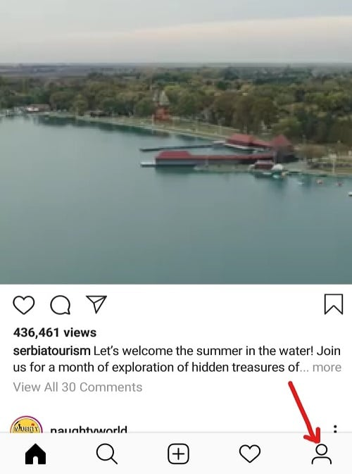 Click on the Human icon that is available at the bottom right corner of the home page of Instagram