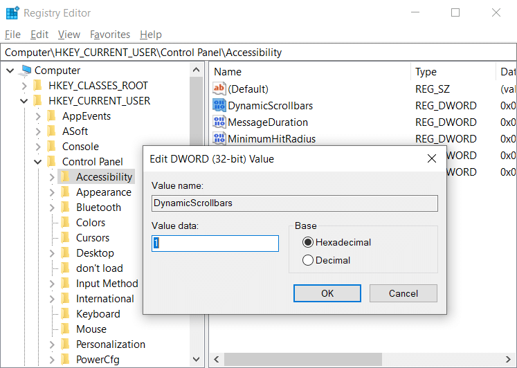 Double-click on DynamicScrollbars DWORD
