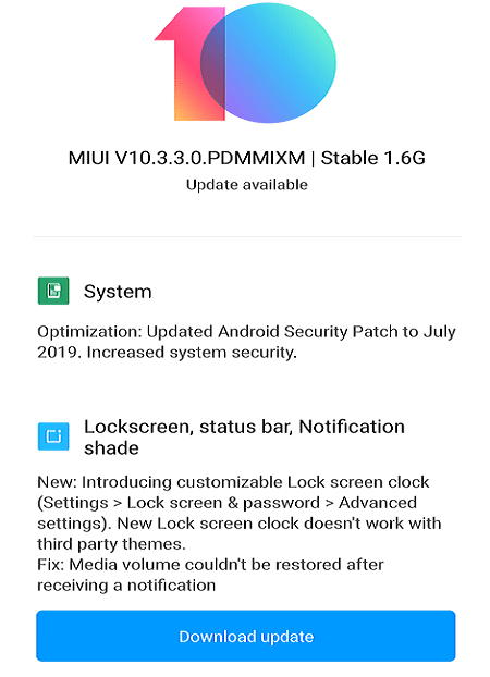 If any update is available, the Download update option will appear