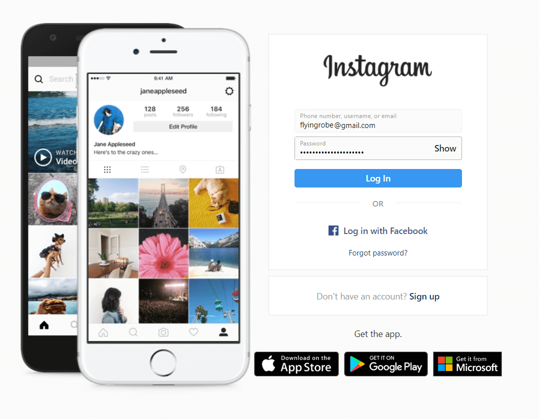 Log in to your account with Instagram.com