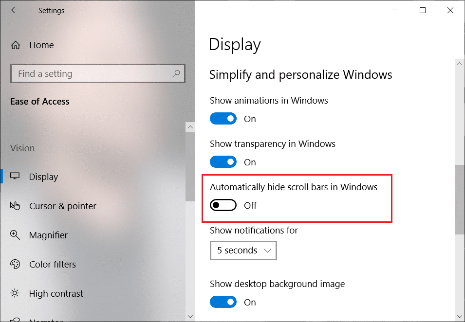 Toggle off the button under Automatically hide scroll bars in the Windows option