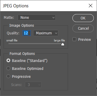 A pop up of JPEG options will come through using which you can set the quality of the image