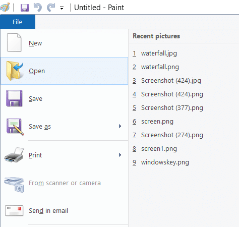 Click File from the Paint menu, select the option of Open from the list and click on it