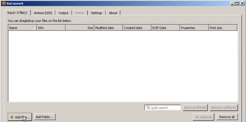 Click on Add files and select the files which you want to open