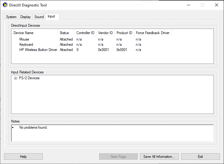 click on Input tab of directX diagnostic tool