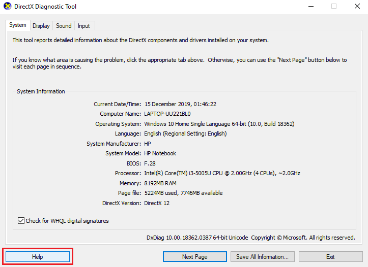 click Help button in the DirectX Diagnostic Tool