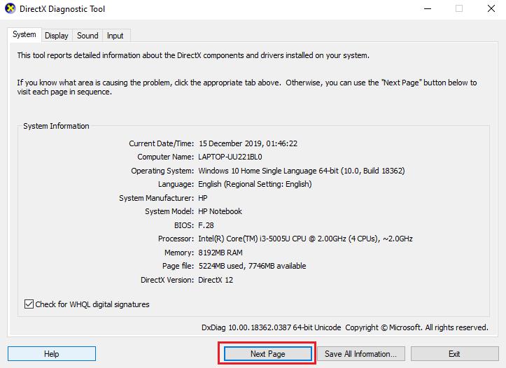 Click next in the DirectX Diagnostic Tool,