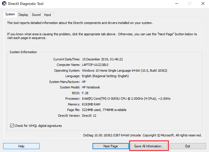 click Save All Information on the DirectX Diagnostic Tool