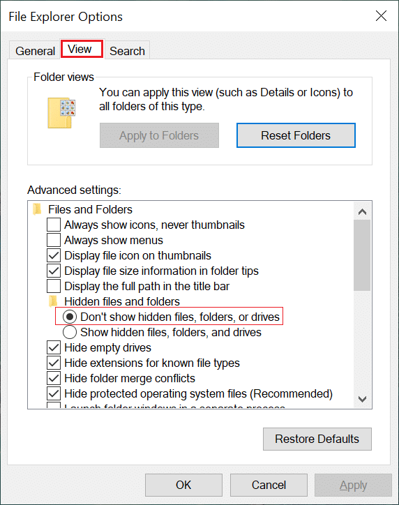 """Go to View Tab and tap the radio button associated with """"Show hidden files, folders and drives"""" option."""
