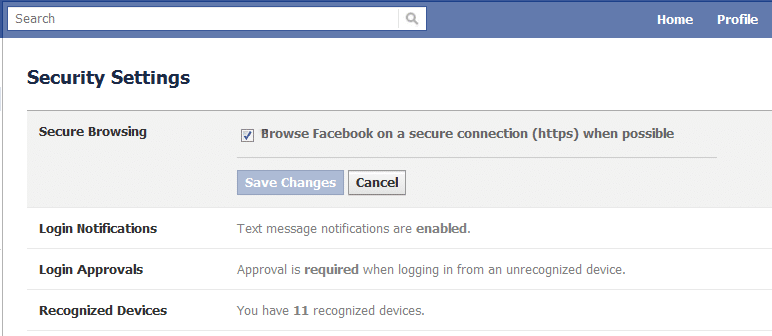 Checkmark Secure browsingoption then click on the Save Changes button.