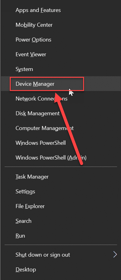 """Open the window's menu through shortcut key """"Windows + x"""". Now choose device manager from the list."""