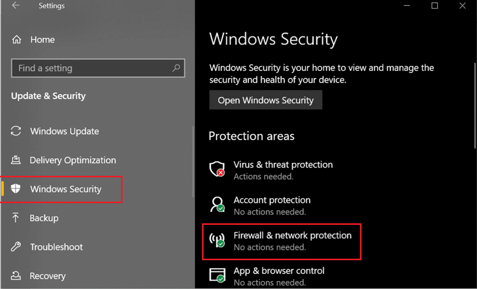 Now under Protection areas option, click on Network Firewall & protection