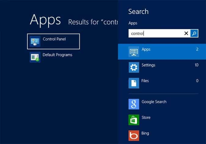 Open Control Panel by using the search bar and hit the enter button