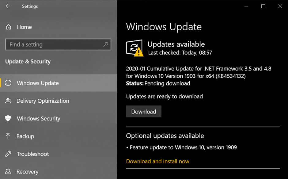 Under Update & Security, click on Windows Update from the menu that pops up.