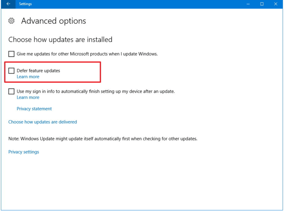 The dialog box that opens will have a checkbox next to defer upgrades option. Uncheck it if it is checked.