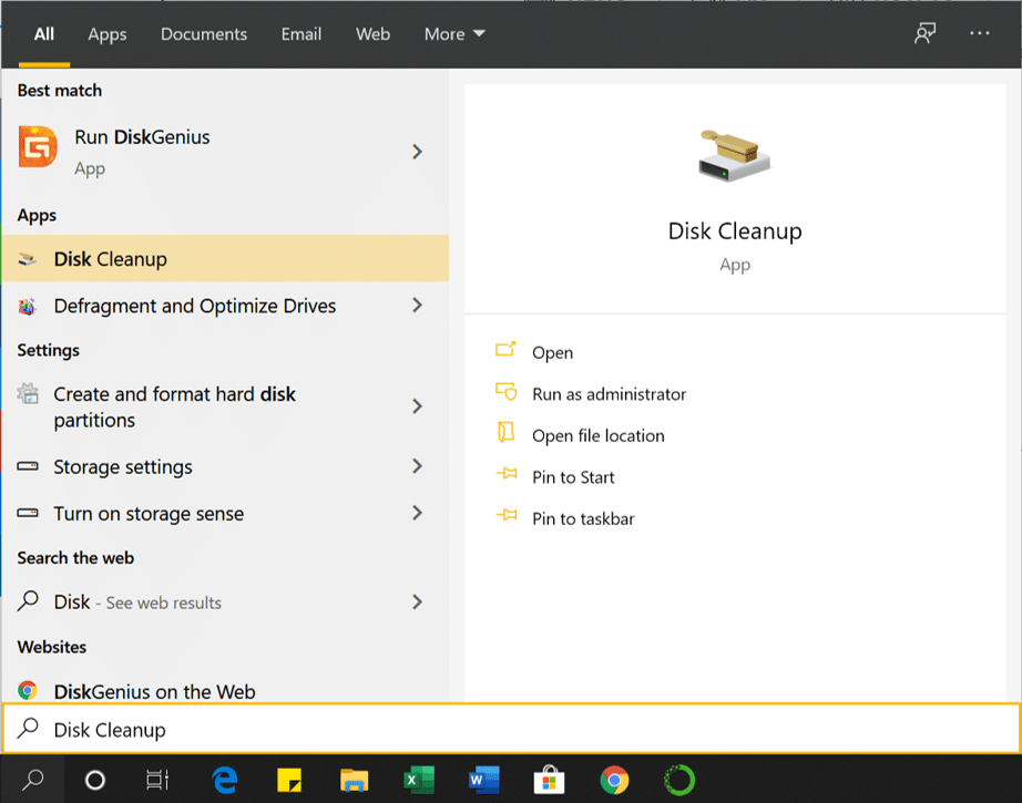 Open Disk Cleanup using the search box.