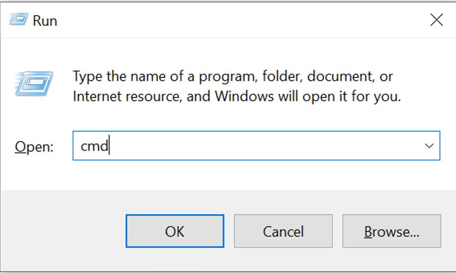 .Press Windows + Rto open the Run dialog box. Type cmdand then click run. Now the command prompt will open.