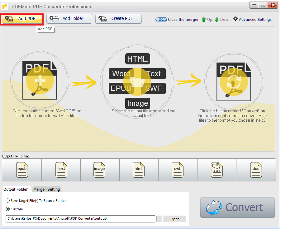 """Import your PDF files in the program by clicking the """"Add PDF"""" button."""