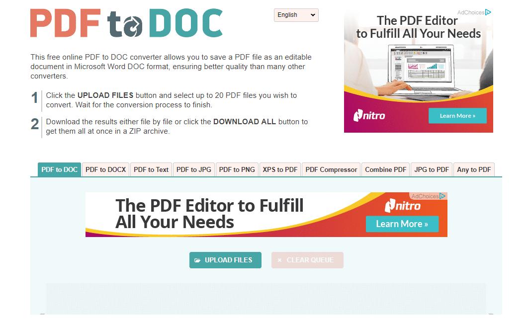 Go to pdf2doc (https://pdf2doc.com/)