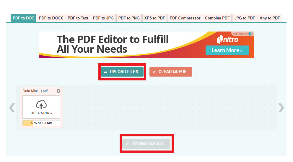 """Click the """"Upload Files"""" button to upload your PDF file in this online service. It gives an option to convert 20 PDF files simultaneously. It'll pop-up a dialog box where you have to choose your PDF file."""