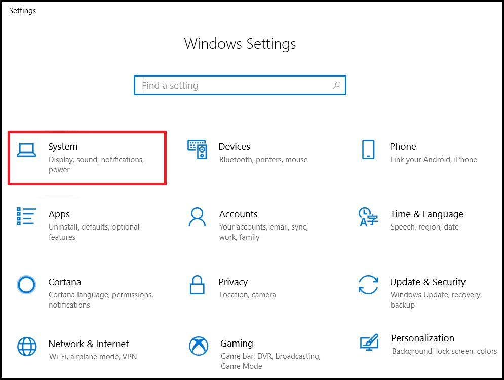 In settings menu select System