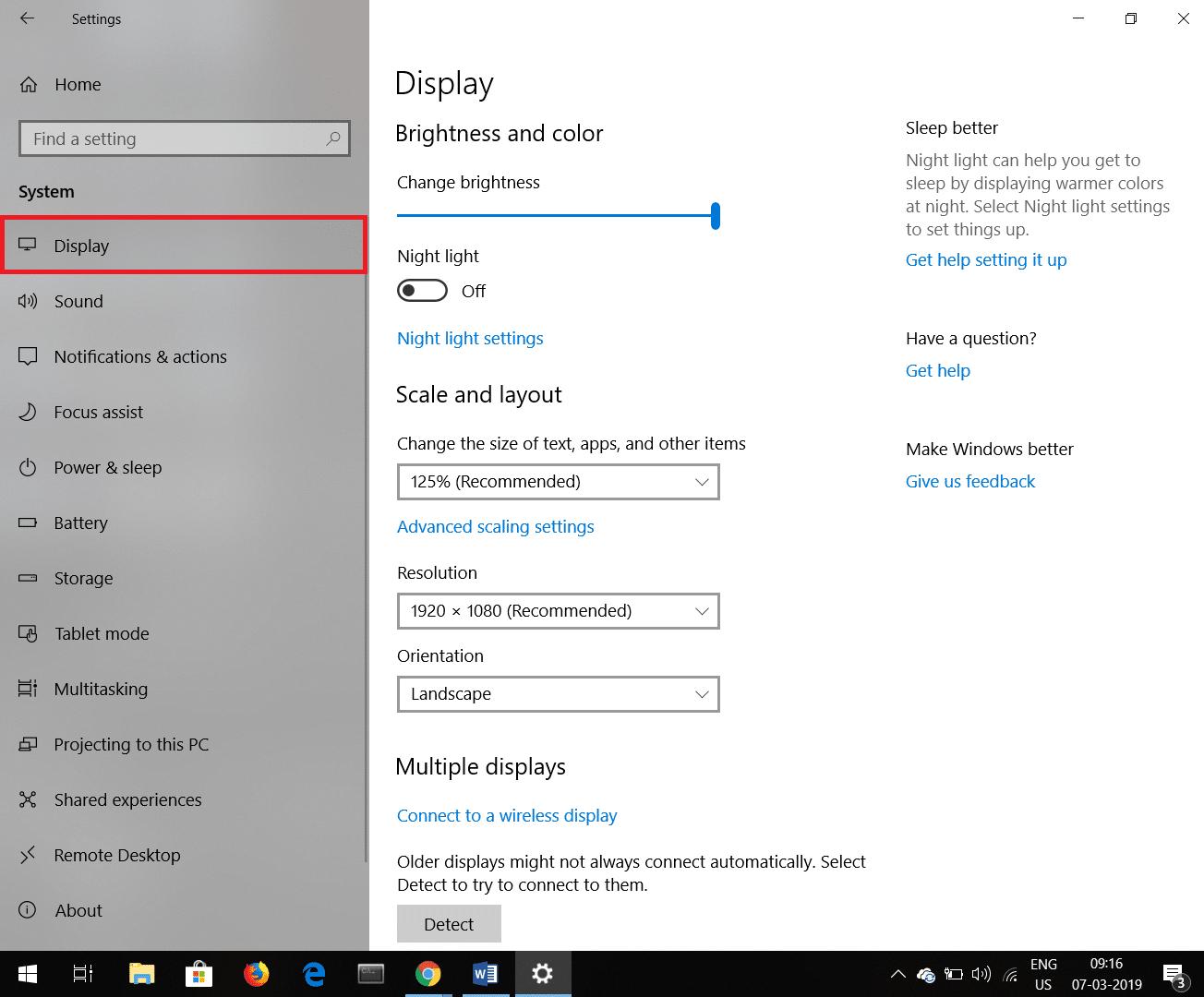 Now select Display Tab