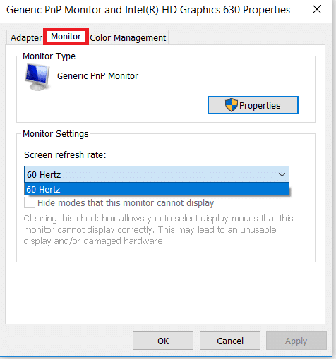 Under the properties window click on monitor tab where you will find screen refresh rate. Set the same value for both the monitors.