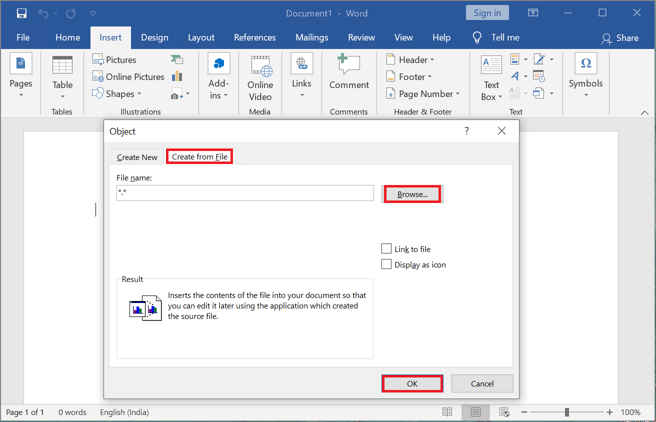 """Then, click """"Create"""" from """"File"""" menu. Click the """"Browse"""" & select your PDF file you wish to put in your Word. After choosing, click Insert/OK."""