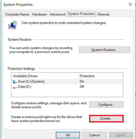 Under System Properties click on create.