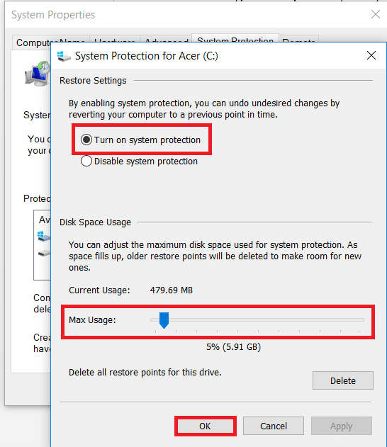 Click on turn on system protection under restore settings and select the max usage under disk usage.