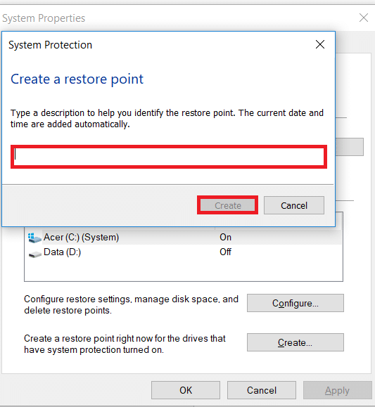Enter the name of the restore point.