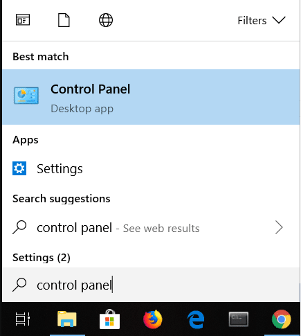 Click on the Search icon on the bottom left corner of the screen then type control panel. Click on it to open.