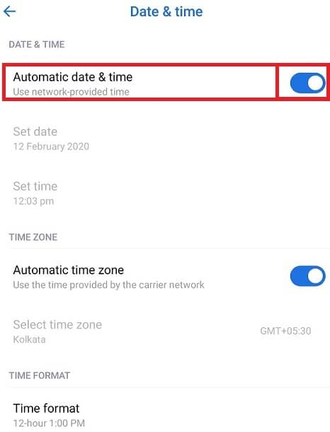 Toggle on the button next to Automatic date & time. If it is already on, then toggle OFF and toggle ON again by tapping on it.