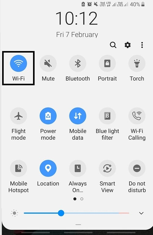 First of all, you need to connect your device to the Wi-Fi by swiping your notification tray and tapping on the Wi-Fi button. Once the Wi-Fi gets connected, the icon will turn blue. It is necessary to update the device on a wireless network as these updates consume a lot of data. Also, cellular data is way slower than the wireless network.