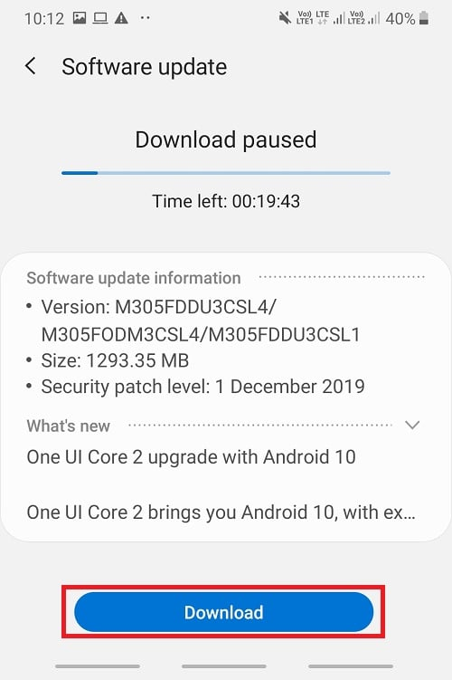 If any update is available, the Download update option will appear on the screen. Tap on the Download update button, and your phone will start downloading the update.