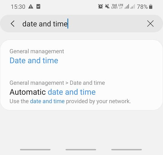 Search for Date and time option in the search ba