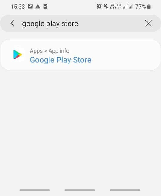 Search for Google Play Store option in the search bar