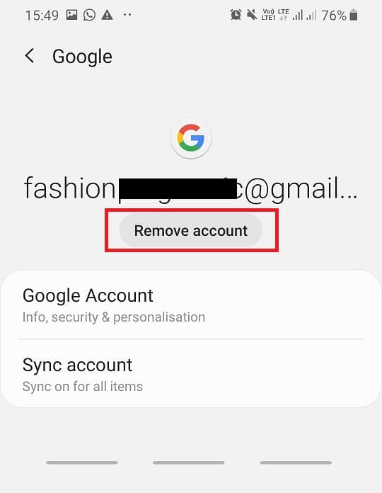 Tap on the Remove account option on the screen.