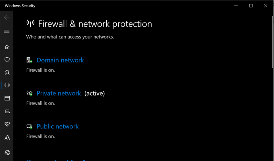 You have todisable the Firewall for both the Public and Private networks.