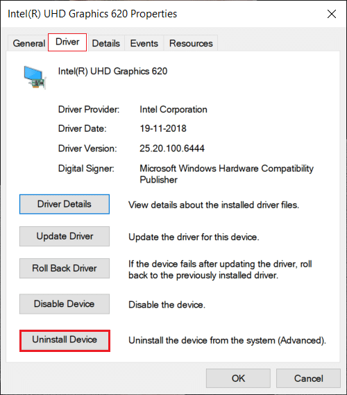 display driver properties. Click on the Driver. then Click on the Uninstall device button.