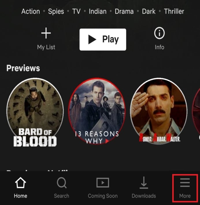 Log in to the Netflix account in which you want to delete the item. Click on the More icon that is available at the bottom right corner of the screen.