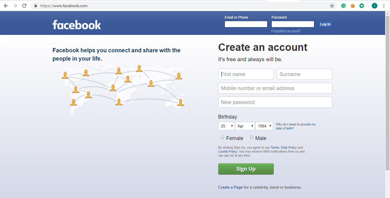 Open Facebook by using link facebook.com. The page shown below will open