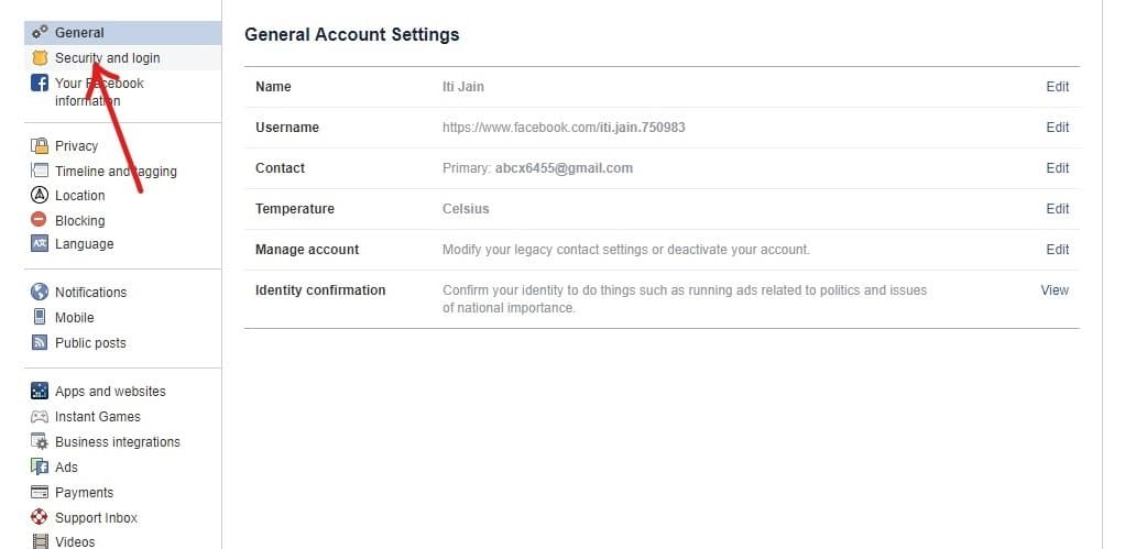 Click on Security and login option on the left panel.