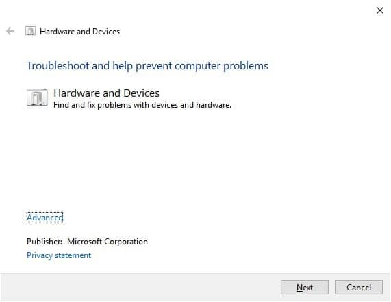 The Hardware and Devices Troubleshooter window will open.