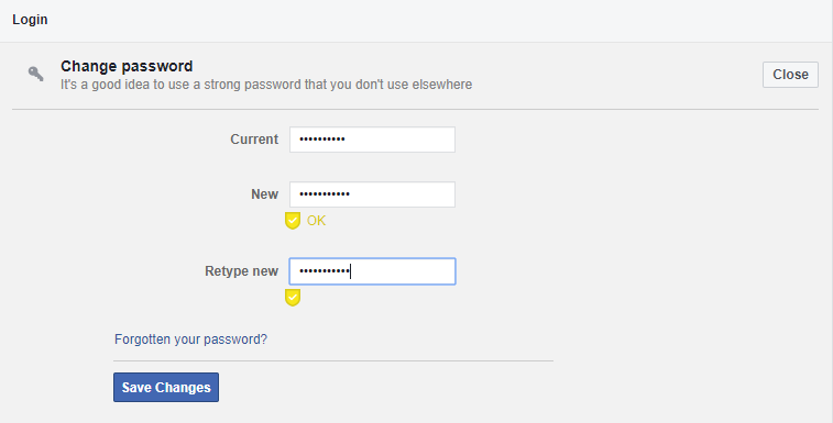 If you get a yellow tick sign below your new password, it means your password is strong.