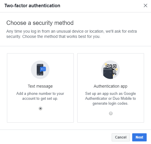 The dialog box, as shown below, will appear in which you will be asked to choose a Security method, and you will be given two choices either by Text message or by Authentication App.