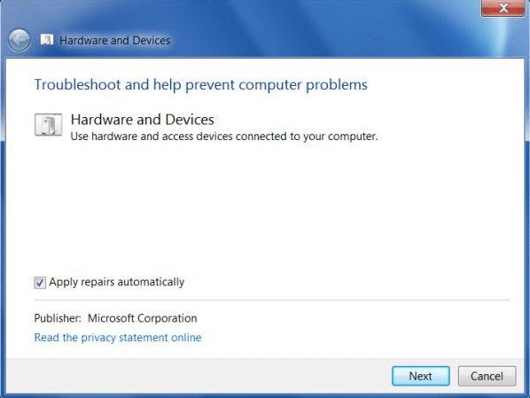 The Hardware and Devices Troubleshooter window will open up.